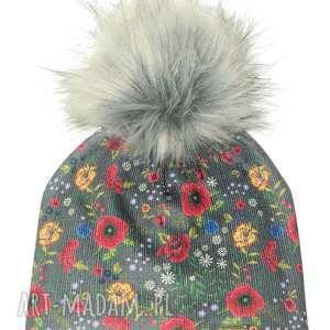 czapka beanie pompon z futra, pompon, kwiaty, prezent, nadruk, czapka, czapa czapki