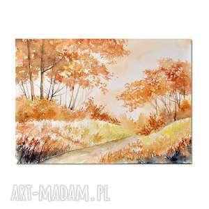 pejzaż jesienny, akwarela, pejzaż, leśny, las, obraz