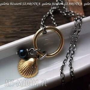 morskie skarby naszyjnik ze srebra i naturalnej perły, perła, rzeczna, srebro