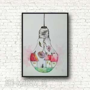 abstrakcja-akwarala formatu a5, akwarela, domki, kwiaty, żarówka, koty