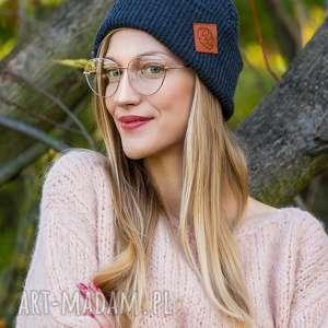 handmade czapki wywijana dwustronna logo z ekoskórki cool gray