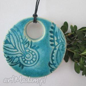 etniczny ceramiczny wisior, turkusowy, wisiorek, indyjski, turkus, etno
