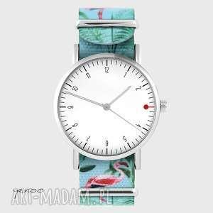hand made zegarki zegarek - simple elegance, biały flamingi, nato