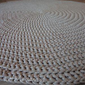 sissi craft design okrągły dywan w kolorze beżowym ze sznurka, dywan