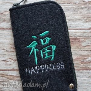 filcowe etui na telefon - happiness, etui, filcowe, smartfon, chiński, znak, haft