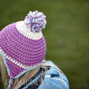 czapka pompon - czapka, prezent, wiosna, włóczka, pompon, ciepły