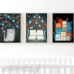 zestaw 3 ilustracji 50x70cm, plakat, zestaw, kot, koty, kocie, prezent na święta