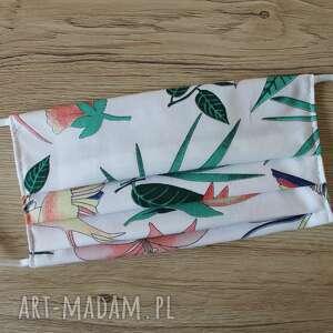 torebki niezwykle maseczka bawełniana - tropikalne liście i koliber, maska