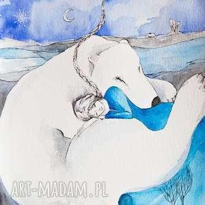 POLARNY SEN obraz akwarelami i piórkiem Artystki plastyka Adriany Laube, niedźwiedź
