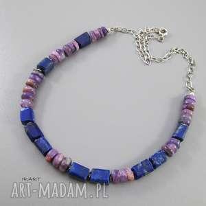 Lapis lazuli z czaroitem - surowy, lapis, srebro, oksydowane, naszyjnik, czaroit