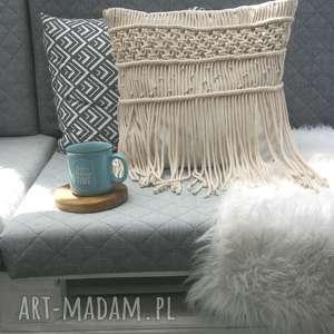 poduszka z makramą, makrama, eco, recznierobione, bawełna,