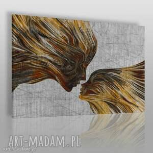 obrazy obraz na płótnie - twarze pocałunek brązowy 120x80 cm 13503