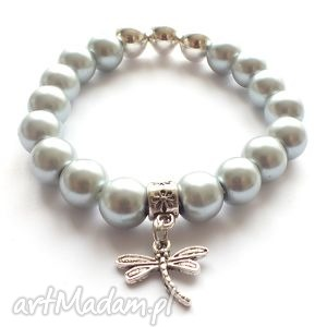 bransoleta grey pearls dragonfly, ważka, zawieszka, perly, charms