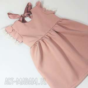 Sukienka pastelowy brudny roz z koronka, pastelowa