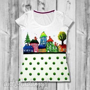 Bluzka -- domki śliczna ręcznie malowana, koszulka, malowane, ręczna, kolorowa