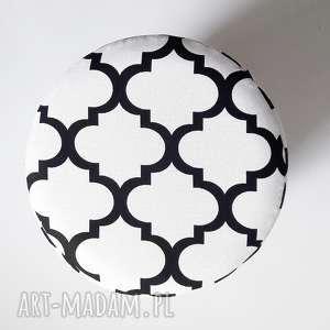 hand made pokrowiec na pufa biało czarna koniczyna maroco