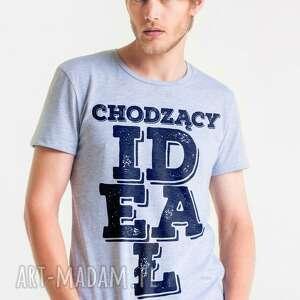 IDEAŁ T-shirt Męski SZARY, męski, tshirt, koszulka, bawełna, on, męskie