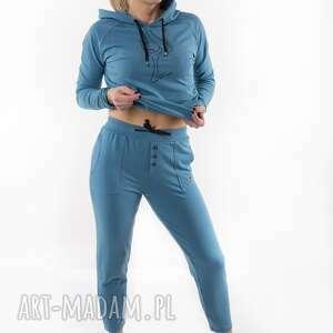 handmade spodnie dresowe brudny niebieski z nadrukiem 3for