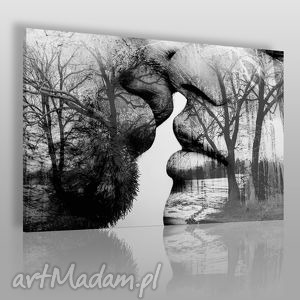 obraz na płótnie - pocałunek drzewa 120x80 cm 29501 , pocałunek, para, miłość