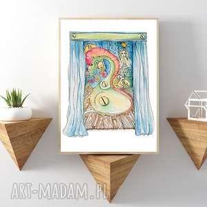 KSIĘŻNICZKA I SMOK... ART PRINT A4, obraz, dziewczynka, format-a4, plakat,