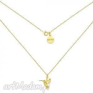 złoty naszyjnik z kolibrem - minimalistyczny, zawieszka, koliberek