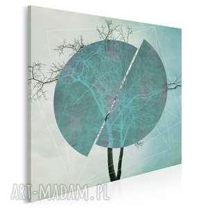 obraz na płótnie - drzewo turkus w kwadracie 80x80 cm 41103
