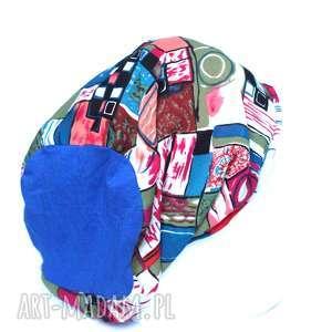 czapka damska kolorowa cienka, czapka, długa, chemia, etno, smerfetka, damska