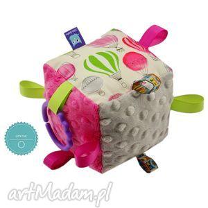 kostka sensoryczna gryzak, wzór balony - kostka, sensoryczna, minky, gryzak, balony