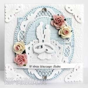 Kartka ślubna - para na moście, kartka, ślubna, pamiątka, ślub, johanna, art