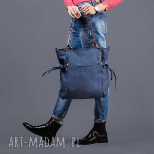 amber - duża torba granatowa plecionka i brąz, miejska, shopper, pojemna, prezent