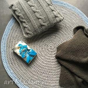 dywan ze sznurka bawełnianego szary z błękitem 100 cm, dywan, chodnik, sznurek