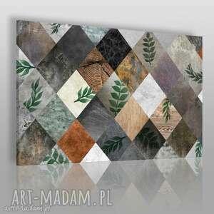 obraz na płótnie - rośliny karo romby 120x80 cm 58501, karo, liście, rośliny