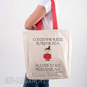 Prezent Licencjonowana torba XXL Muminki z czerwonym uchem CODZIENNIE BUDZĘ SIĘ