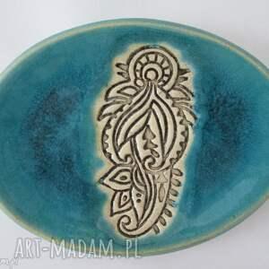 turkusowa mydelniczka - ,mydelniczka,ceramiczna,etniczna,talerzyk,na,biżuterię,