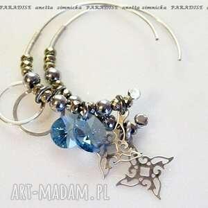 srebro, kolczyki - lazurowe kryształy swarovskiego, kryształy, koła