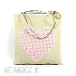 hand-made torba codzienna zakupówka z sercem w kratkę