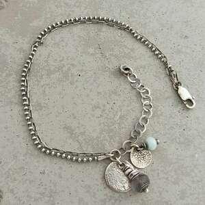 labradoryt i larimar subtelna srebrna bransoletka z zawieszką, srebro