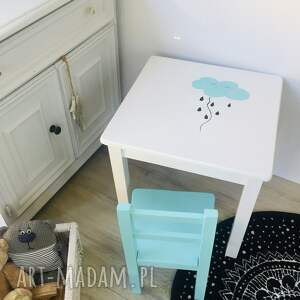 pokoik dziecka stolik i krzesełko - komplet mebelków drewnianych biało miętowych