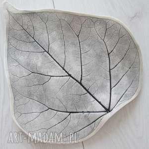 patera liść, ceramiczna, talerz, ceramiczny, dekoracyjna, patera, roślinna