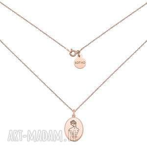 medalion z różowego złota z boginią - pozłacany