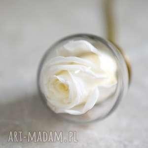 madamlili naszyjnik wieczna róża - miłość, róża, kwiat, biała, szkło, kula