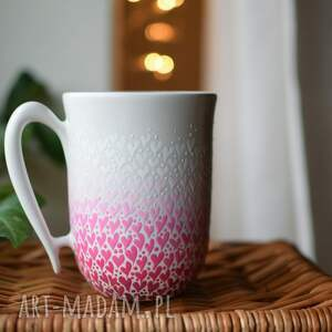 kubki kubek serduszka ombre róż 325ml, kubek, ceramiczny