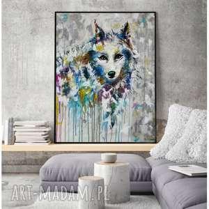 Prezent Wilk- obraz na płótnie ręcznie malowany do salonu, prezent, obrazy