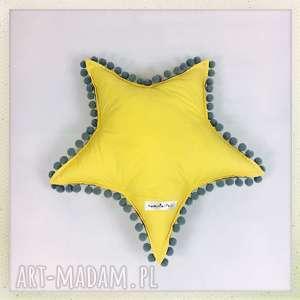 Gwiazdka żółta z pomponikami, żółty, szary, star, gwiazda