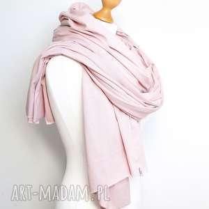 hand-made szaliki długi szal bawełniany damski w kolorze pudrowy róż, xxl