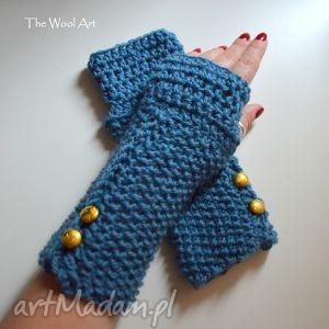 mitenki w kolorze jeans - mitenki, rękawiczki, niebieskie