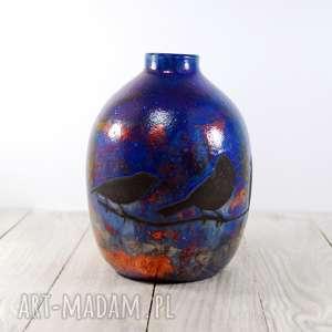handmade ceramika wazon raku wróbelki