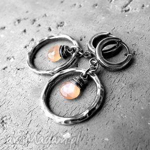srebro i kamień słoneczny-kolczyki koła, koła, z kamieniami, prezent