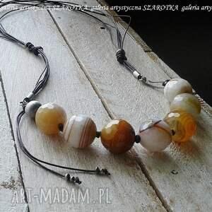 ręcznie robione naszyjniki karmelowe rarytasy naszyjnik z agatu, sznurka i srebra