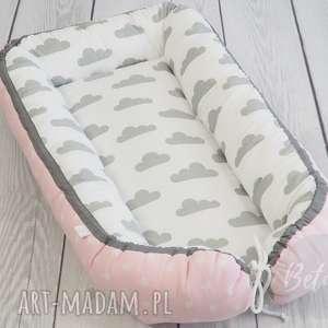 hand-made pokoik dziecka kokon niemowlęcy leżaczek otulacz pastelowe chmurki